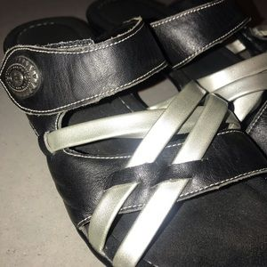 Shoes - Black and Metallic Silver Sandals - 39